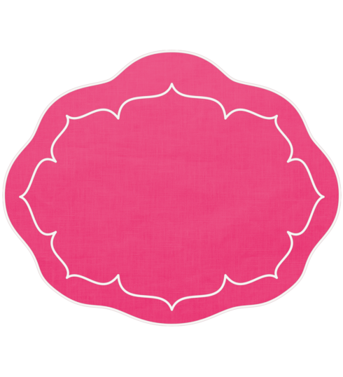 $100.00 Oval Linen Mat Fuchsia - Set of 4