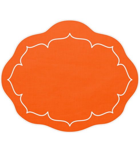 $100.00 Oval Linen Mat Orange - Set of 4
