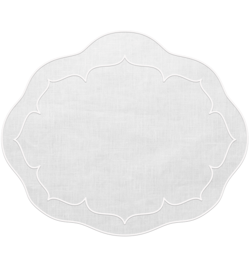 $100.00 Oval Linen Mat White - Set of 4