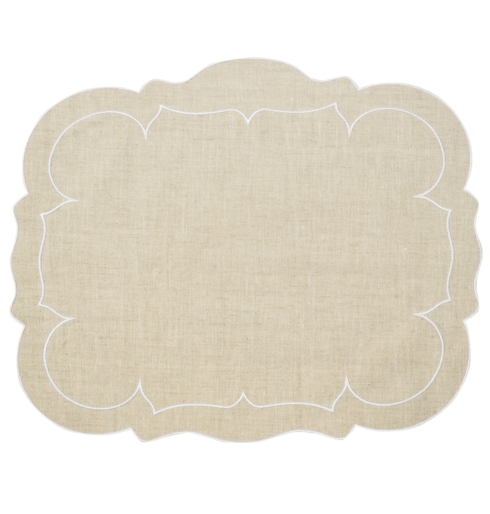 Skyros Designs  Linho Scalloped Rectangular Placemats Scalloped Rectangular Linen Mat Natural - Set of 4 $100.00