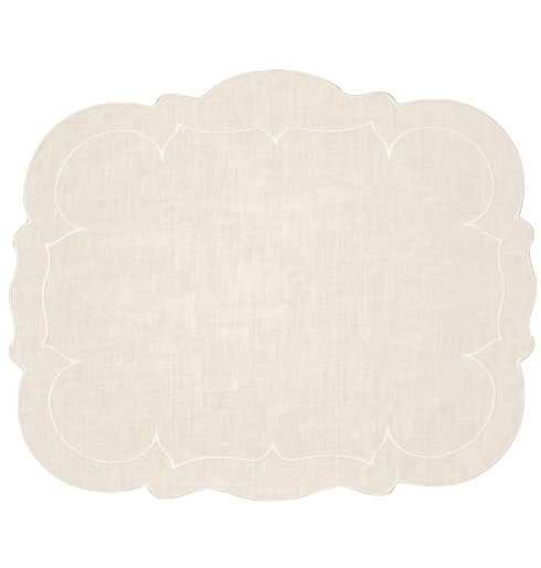 $100.00 Rectangular Linen Mat Ivory - Set of 4