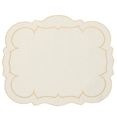 Skyros Designs  Linho Rectangular Placemats Rectangular Linen Mat Ivory w/ Gold - Set of 4 $100.00