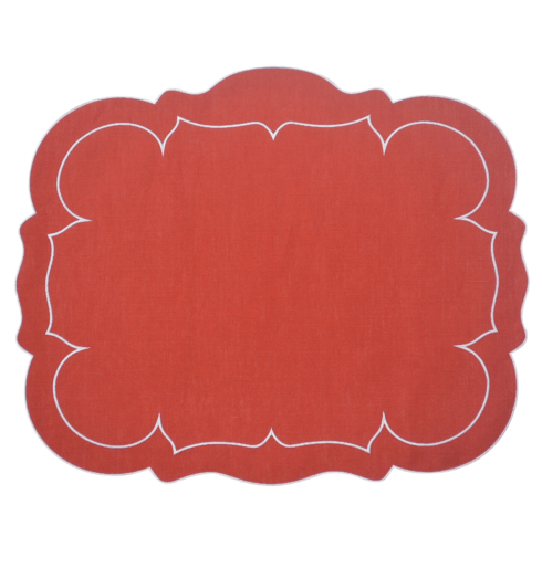 $100.00 Rectangular Linen Mat Brick Red - Set of 4