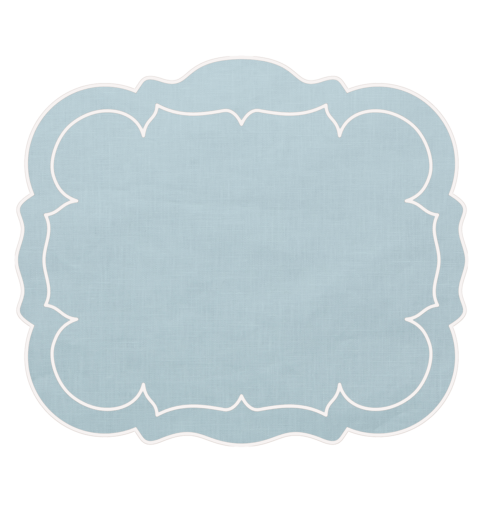 Skyros Designs  Linho Scalloped Rectangular Placemats Ice Blue - Set of 4 $108.00