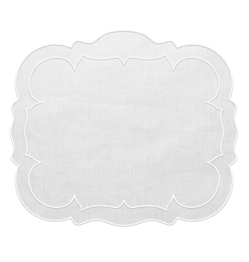 Skyros Designs  Linho Rectangular Placemats Rectangular Linen Mat White - Set of 4 $100.00