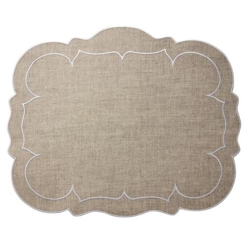 Skyros Designs  Linho Scalloped Rectangular Placemats  Dark Natural - Set of 4 $100.00