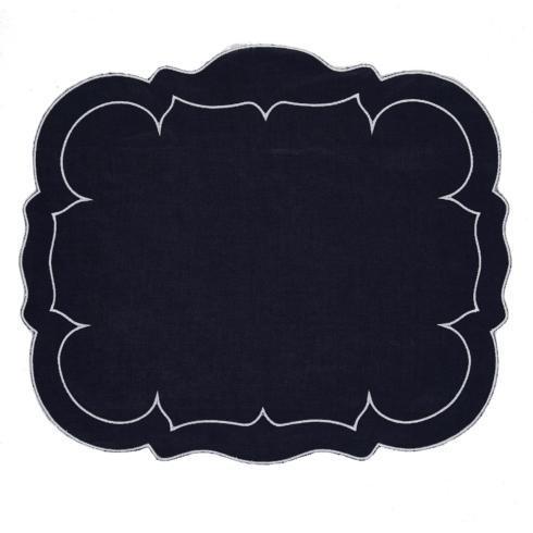 $100.00 Rectangular Linen Mat Navy - Set of 4