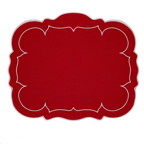 Rectangular Linen Mat Red Red - Set of 4
