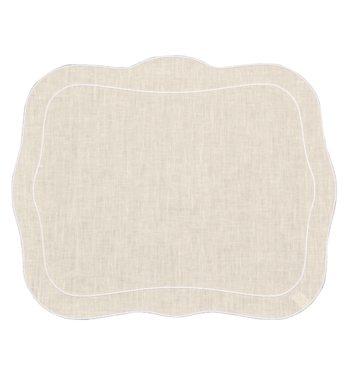 Skyros Designs  Linho Patrician Placemats Patrician Linen Mat Ivory w/ White - Set of 4 $100.00