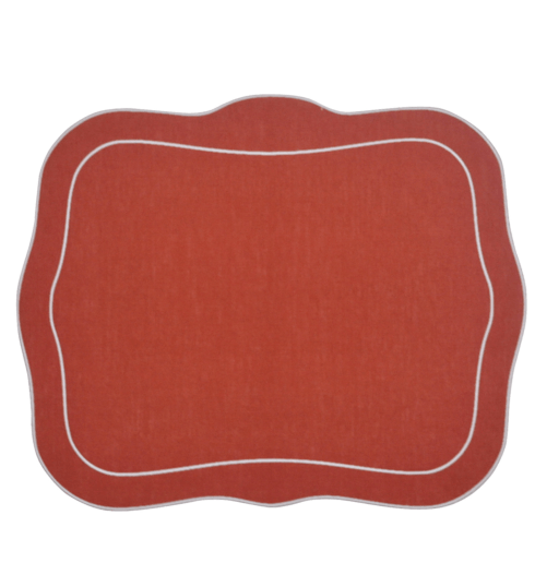 $100.00 Patrician Linen Mat Brick Red - Set of 4