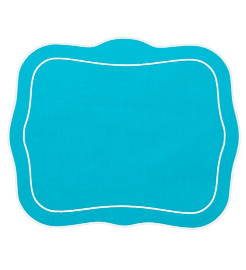 $100.00 Patrician Linen Mat Turquoise - Set of 4
