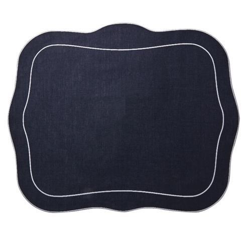 $108.00 Patrician Linen Mat Navy - Set of 4