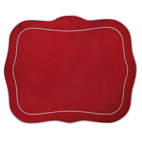 $100.00 Patrician Linen Mat Red Red - Set of 4