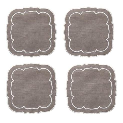 Skyros Designs  Linho Scalloped Square Coasters Charcoal / White - Boxed Set of 4 $33.00