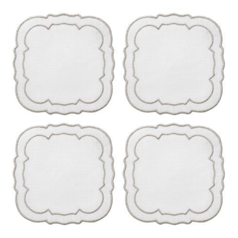Skyros Designs  Linho Scalloped Square Coasters White w/Platinum - Boxed Set of 4 $33.00