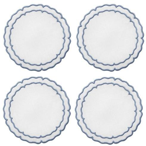 Skyros Designs  Linho Scalloped Round Coasters White with Blue - Boxed Set of 4 $33.00