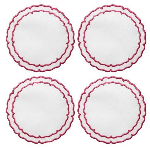 $33.00 White with Fucshia - Boxed Set of 4