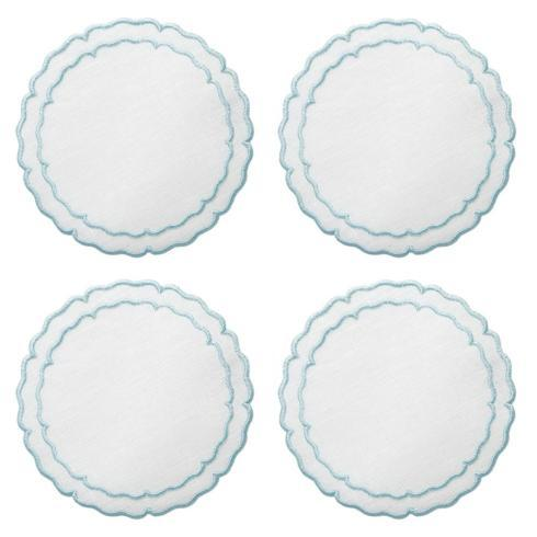 Skyros Designs  Linho Scalloped Round Coasters White with Ice Blue - Boxed Set of 4 $33.00