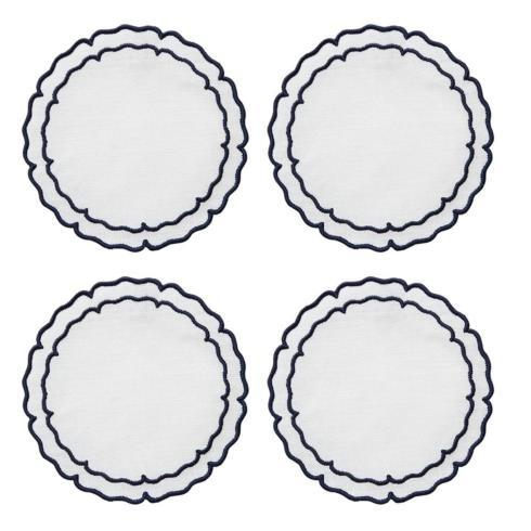 $33.00 White with Navy - Boxed Set of 4