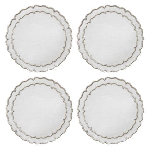 Skyros Designs  Linho Scalloped Round Coasters  White with Platinum - Boxed Set of 4 $33.00