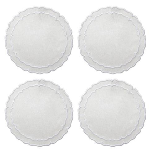 Skyros Designs  Linho Scalloped Round Coasters White - Boxed Set of 4 $33.00