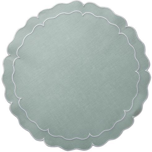 Skyros Designs  Linho Scalloped Round Placemats Ice Blue - Set of 4 $108.00