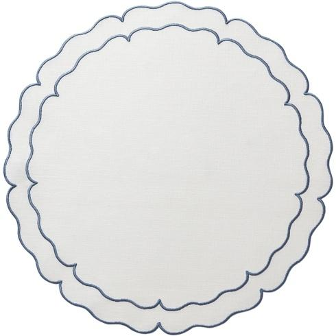 Skyros Designs  Linho Scalloped Round Placemats White w/ Blue - Set of 4 $108.00