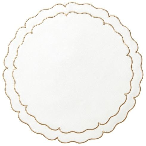 Skyros Designs  Linho Scalloped Round Placemats White w/ Gold - Set of 4 $108.00