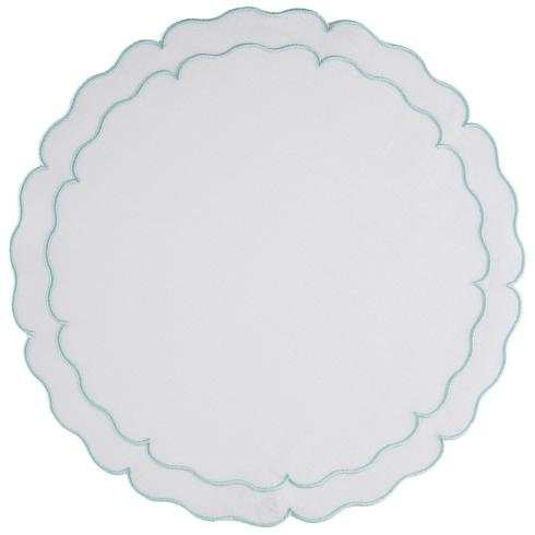 Skyros Designs  Linho Scalloped Round Placemats  White w/Ice Blue - Set of 4 $108.00