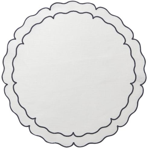 Skyros Designs  Linho Scalloped Round Placemats White w/ Navy - Set of 4 $108.00