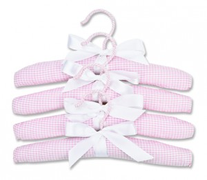 PADDED HANGERS-4 PACK PINK GINGHAN SEERSUCKER collection with 1 products