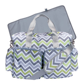 GREEN/GRAY/WHITE CHEVRON DELUXE DUFFLE DIAPER BAG collection with 1 products