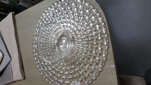 $80.00 Crystal cake stand/chip n dip dish