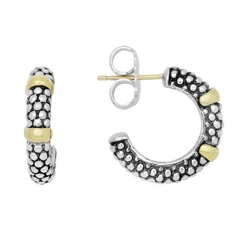 Caviar Beaded Hoop With Gold