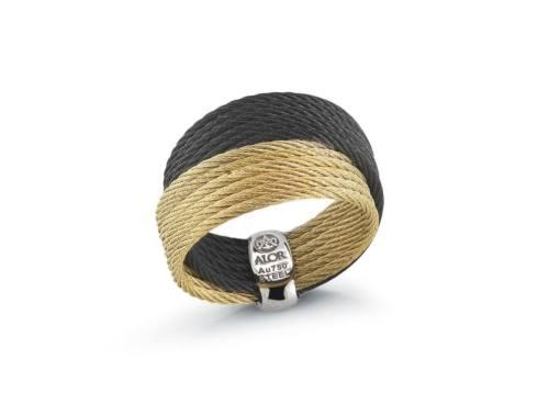 $295.00 18K Yellow Gold, Stainless Steel, Black & Yellow Stainless Steel Cable Ring