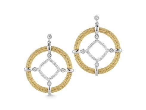 $1,995.00 18K White Gold, Stainless Steel & Yellow Stainless Steel Cable, .44ctw Diamond Earrings