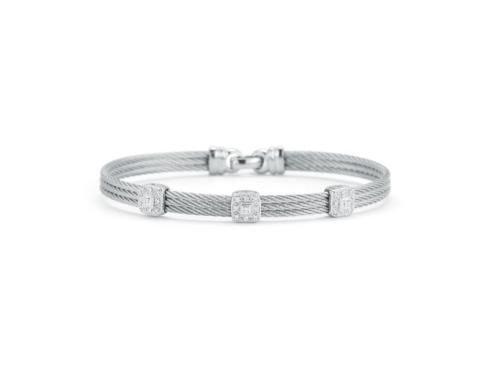 18K White Gold, Stainless Steel & Grey Stainless Cable With .14ctw Diamonds Bracelet