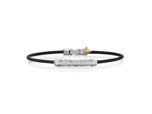 18K White Gold, Stainless Steel & Black Stainless Cable With .10ctw Diamonds Bracelet