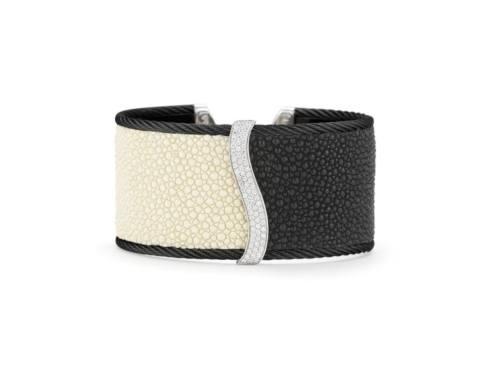 18K White Gold, Stainless Steel, Black Stainless Cable With White & Black Stingray & .63ctw Diamonds Bangle Bracelet