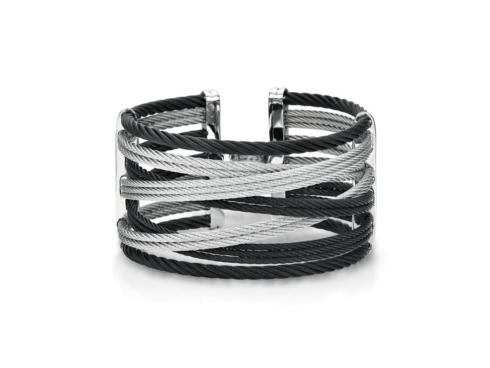 $595.00 18K Yellow Gold, Stainless Steel, Black & Grey Stainless Cables With .01ctw Diamond Bangle Bracelet