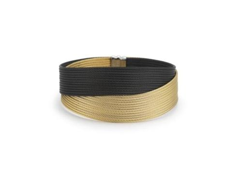 18K Yellow Gold, Stainless Steel, Black & Yellow Stainless Cable Bangle Bracelet