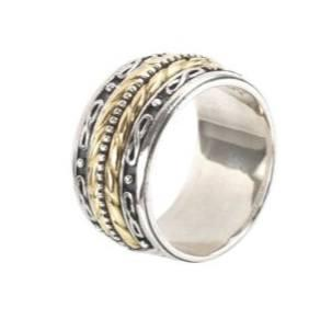 $985.00 Sterling Silver & 18k Gold Band Ring