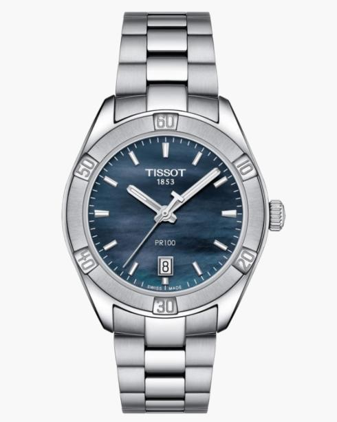 $300.00 TISSOT Lds Stainless Steel Blk Mother of Pearl Dial