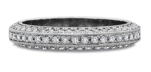 Three Row Full Round Diamond Bead Set Band with Milgrain