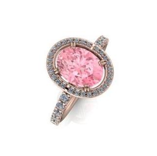 $0.00 Morganite Halo Ring