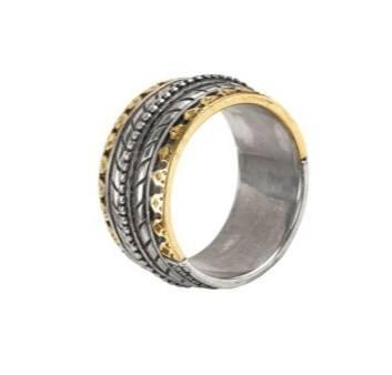 $750.00 Sterling Silver & 18k Gold Band Ring