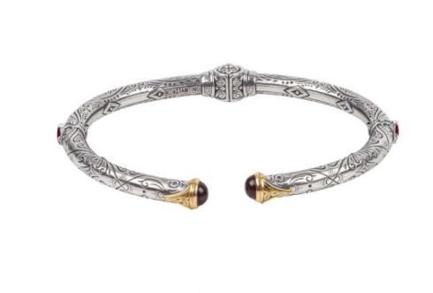 $580.00 Sterling Silver & 18k Gold Hinged Bracelet