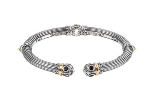 $760.00 Sterling Silver & 18k Gold Bracelet with Black Spinel