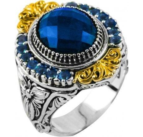 $850.00 Sterling Silver & 18k London Blue Topaz Gold Ring