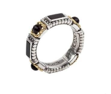 $340.00 Sterling Silver & 18k Gold Onyx Ring
